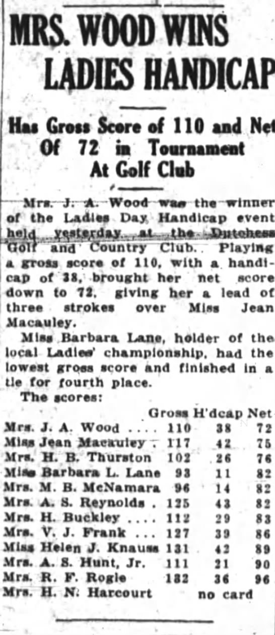 Barbara Lane Ladies Handicap 6 Aug 1930