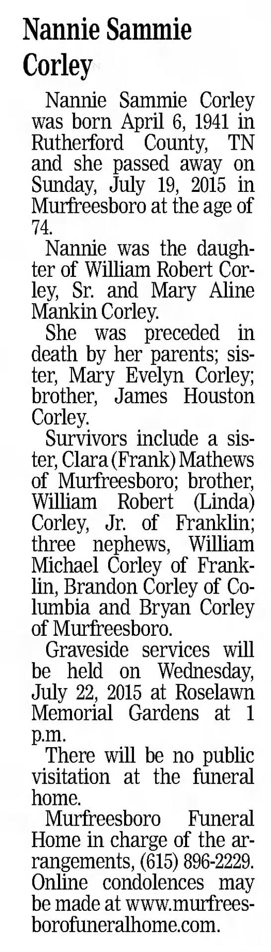 Nannie Sammie Corley obituary