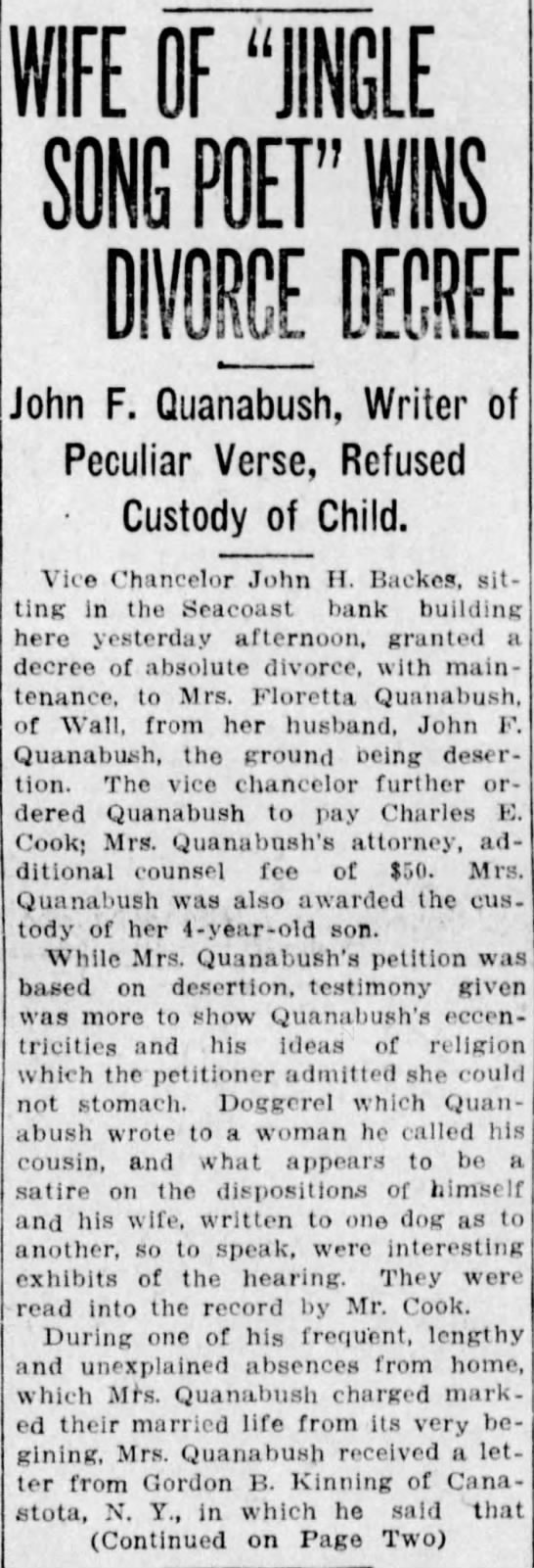 Published in Asbury Park Press; Saturday, 20 September 1913; Page 1