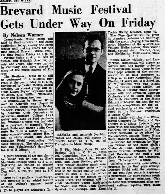 Brevard music festival gets under way on Friday 06/08/1950