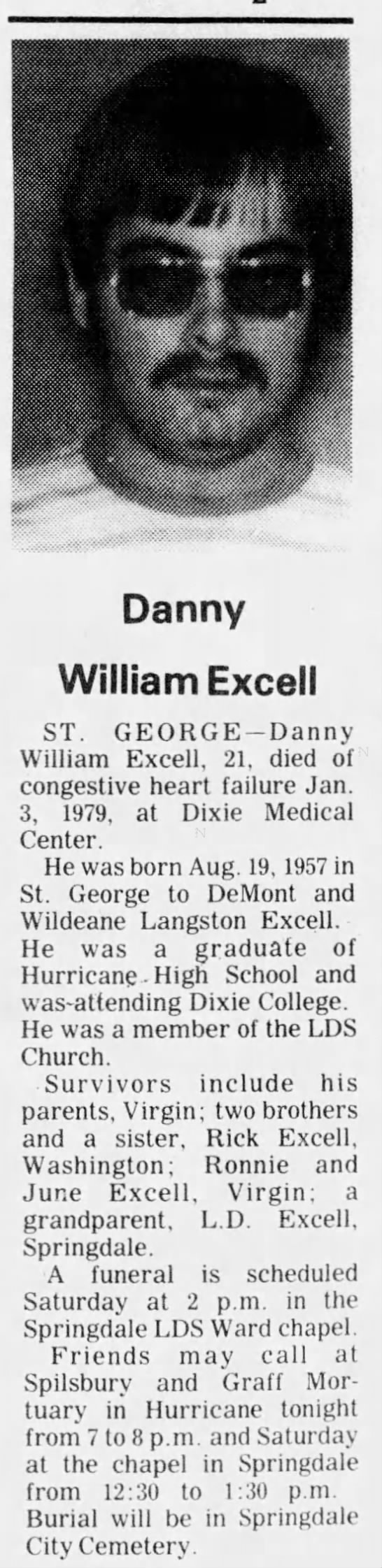 Danny William Excell; Obit.