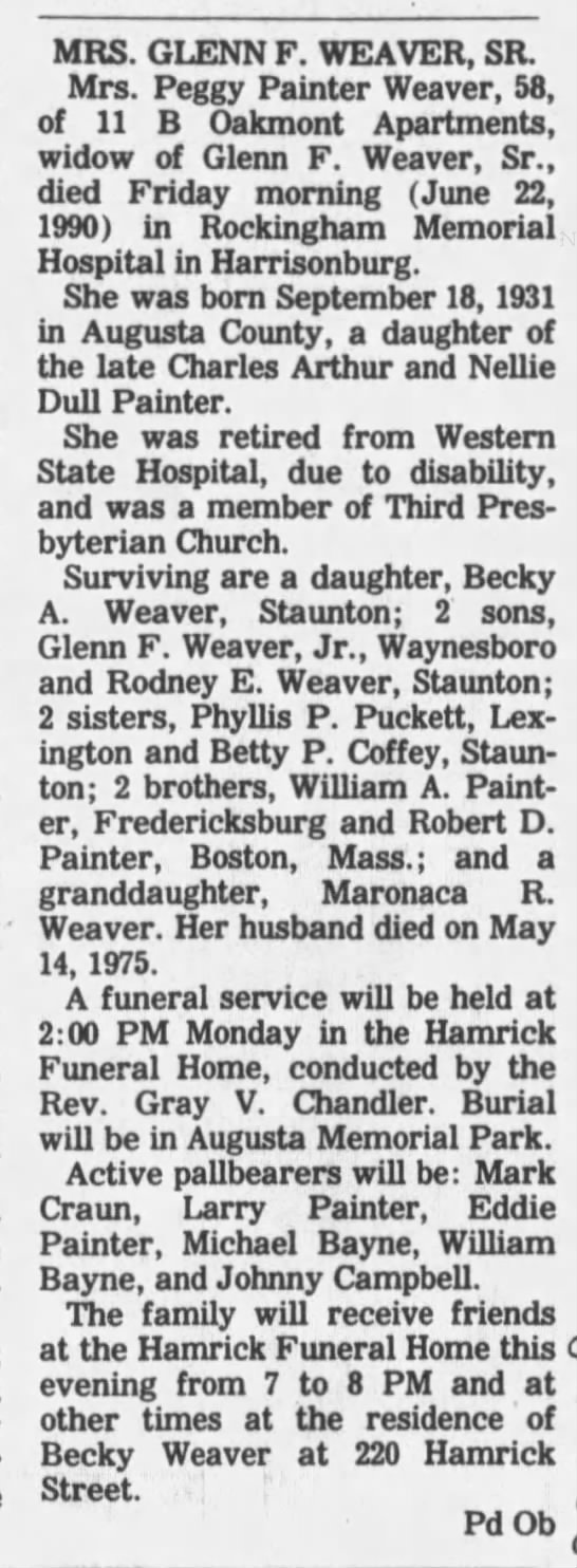 Margaret Jane Painter Weaver obit