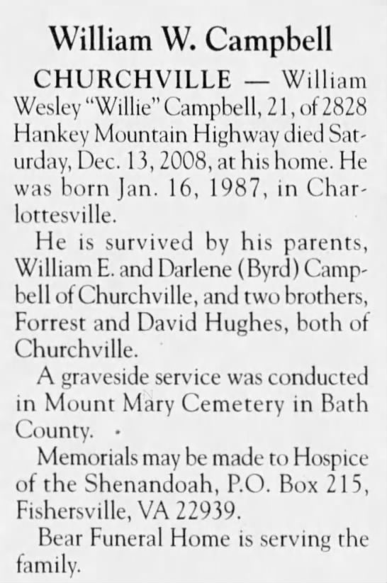 Obituary of William Wesley Campbell