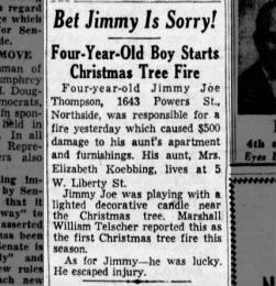 Elizabeth Koebbing Fire 1952 Started by Nephew Jimmy Joe Thompson
