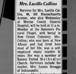 Lucille Collins, Obituary, Indianapolis, IN 1972