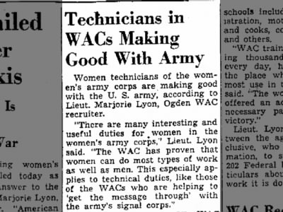 WACs making good with army