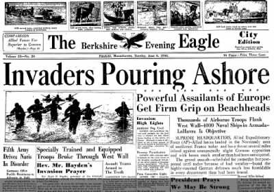 D-Day front page in Pittsfield, MA (Jun 6, 1944)