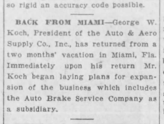 1929-02-17 Koch,  Geo laying plans for expansion including Auto Brake Service Co.