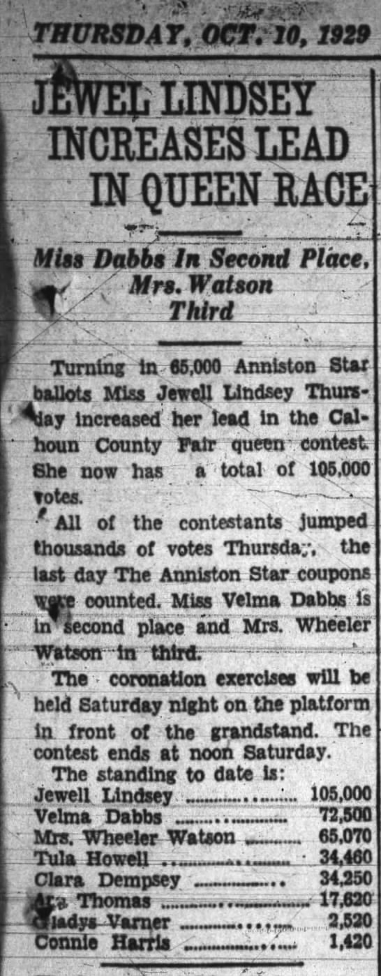 Velma Dabbs in 2nd Place for County Fair Queen from Anniston Star - 10 Oct 1929