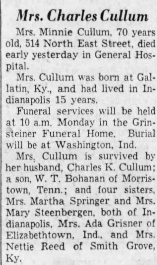 Minnie Knight Bohanon Cullum obit