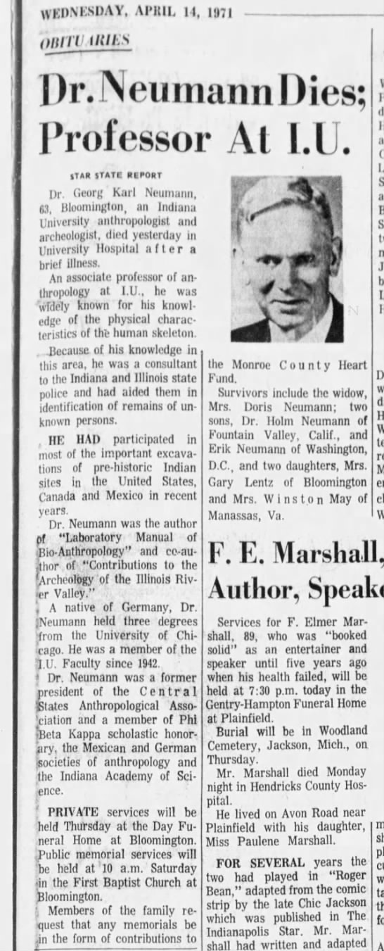Indianapolis Star 14 Apr 1971 p17 Georg Karl Neumann obituary