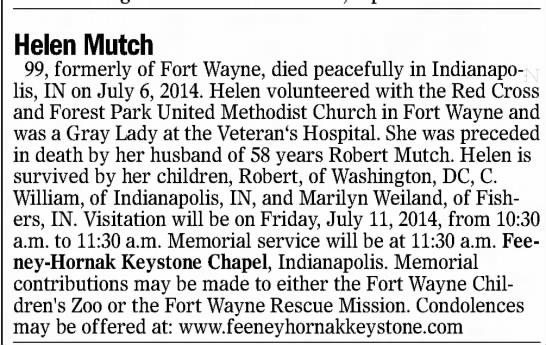 Death Announcement Helen Ator Mutch