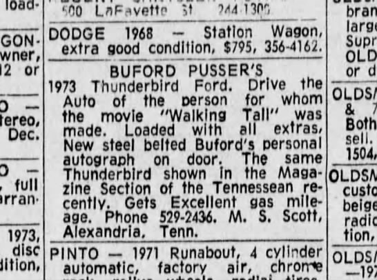 1973-12-23 TENNESSEAN Automobiles for Sale-Buford Pusser's 1973 Thunderbird Ford_4C