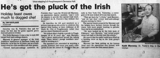 March 17, 1990- Keith Maroney and the Irish American Club