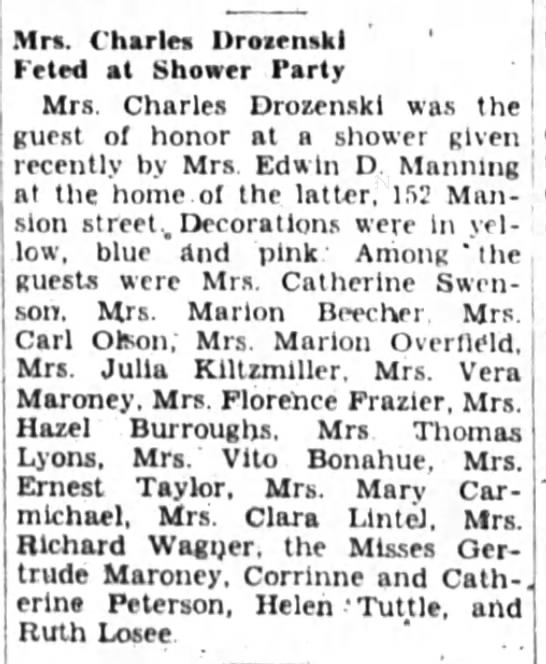 Mrs. Charles Drozenski  Feted at Shower Party with Gertrude Maroney