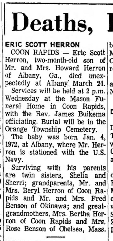 Death of Grandson of Bertha Herron of Coon Rapids 1972