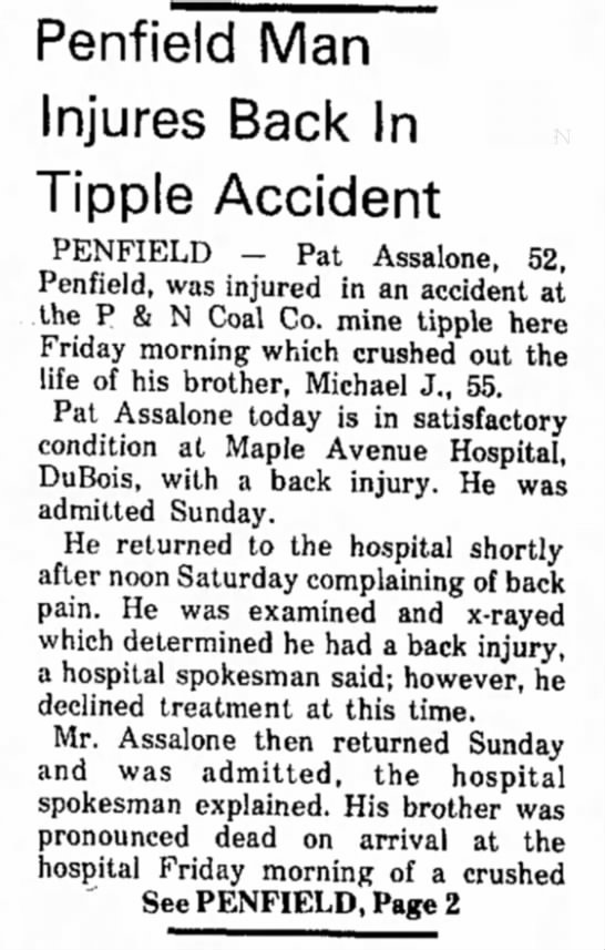 Michael Assalone Mine accident January 7, 1974