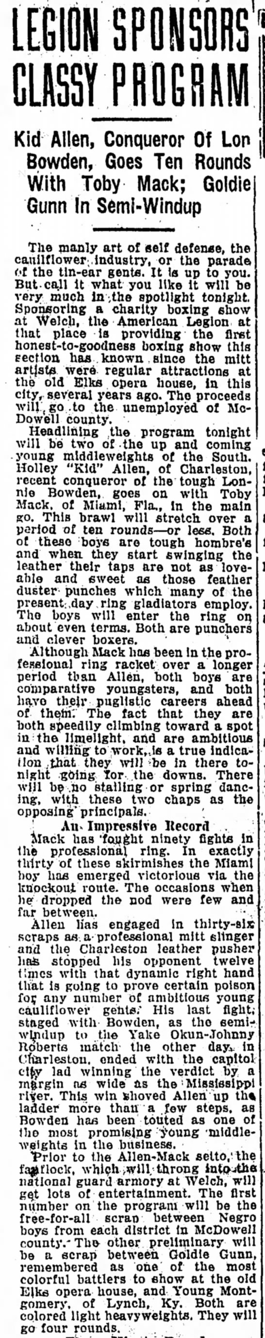 March 27, 1931 Boxing Match