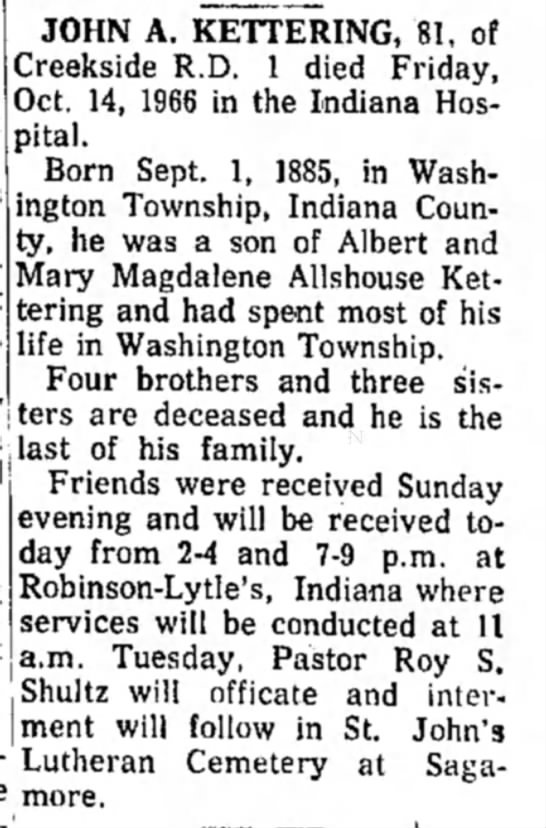 Obituary of John A Kettering - dated 17 Oct 1966
