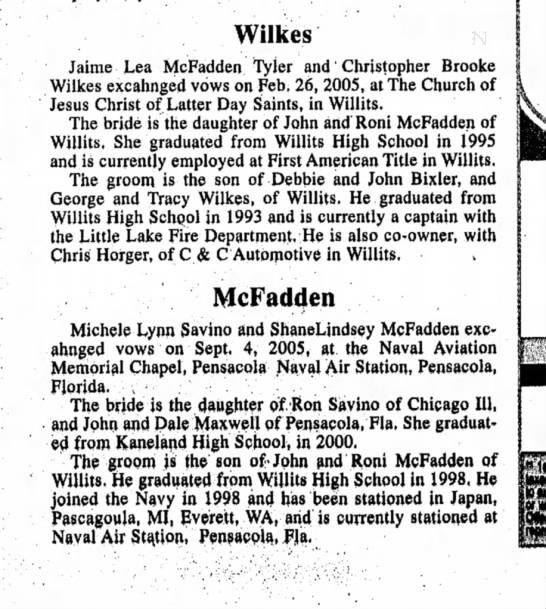 Wilkes/McFadden wedding
