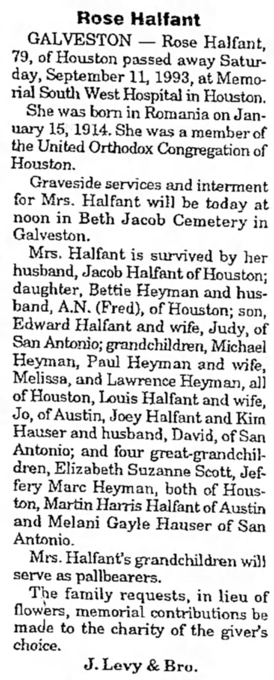 Rose Halfant Obituary 1993