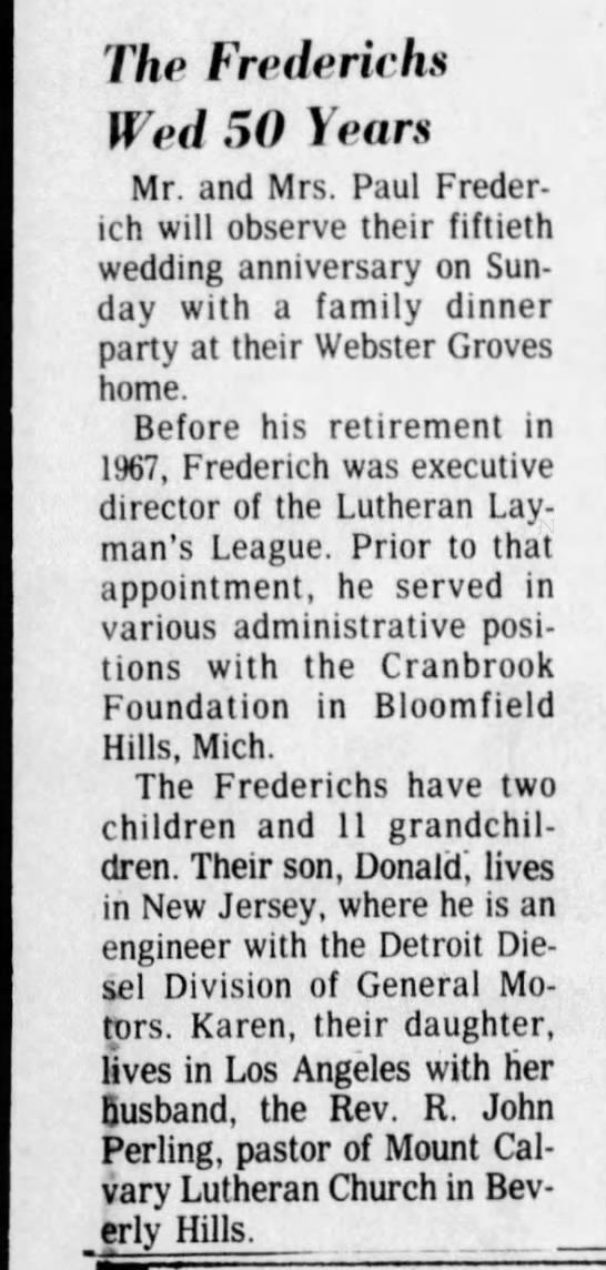 Paul Frederich, Karen Frederich Perling, R John Perling, Donald Frederich, Missouri