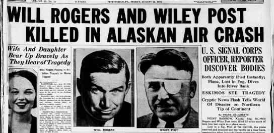 Headline about deaths of Rogers and Post