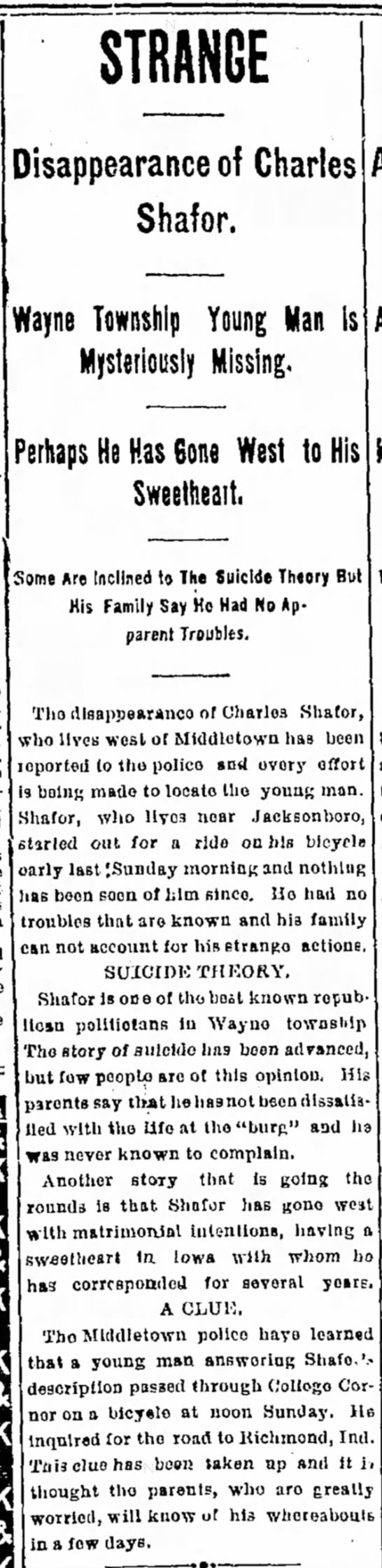 Charles Shafor Disappearance