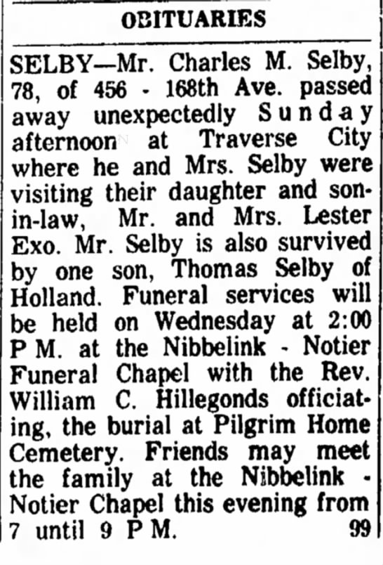 Charles M Selby 29 Oct 1963 Wed pg 12