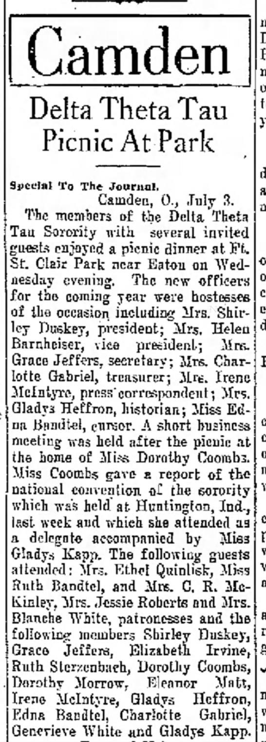 Ruth Bandtel, The Journal News Hamilton, OH July 3,1931 p.2