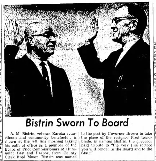 Fred Moore swearing in AM Bistrin - 02/04/1964