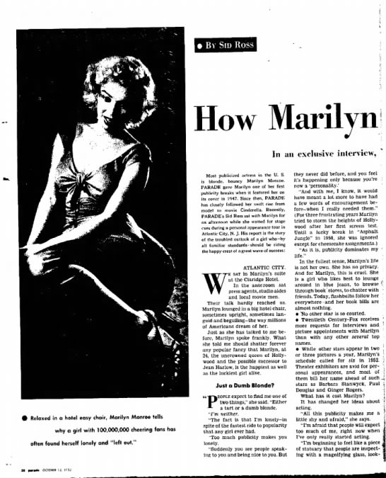 Marilyn Monroe Interview pg. 1