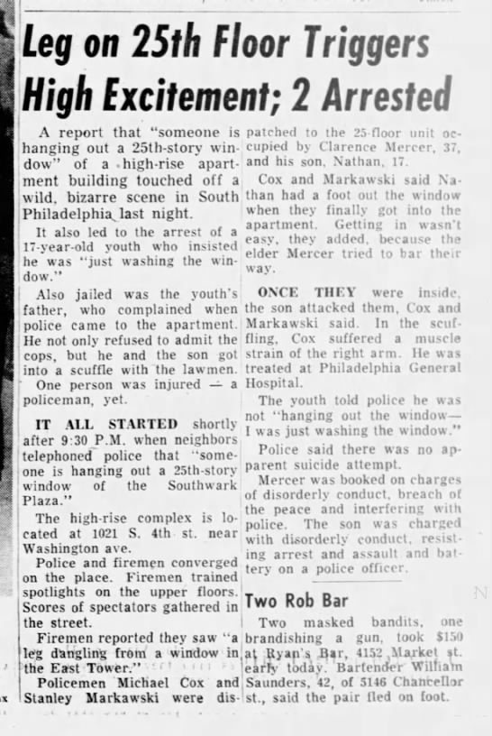 """""""Leg on 25th Floor Triggers High Excitement; 2 Arrested,"""" 1965"""