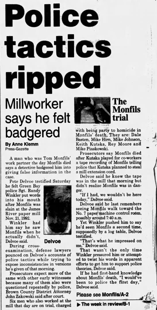 Oct 1, 1995, Monfils Homicide: Police tactics ripped pg 1
