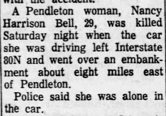 Nancy Harrison Bell's death