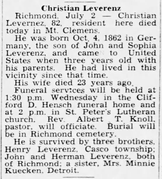 Obituary for Christian Leverenz