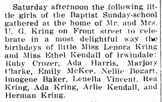 Miss Ethel Kendall Birthday celebration, 1 Jun 1912