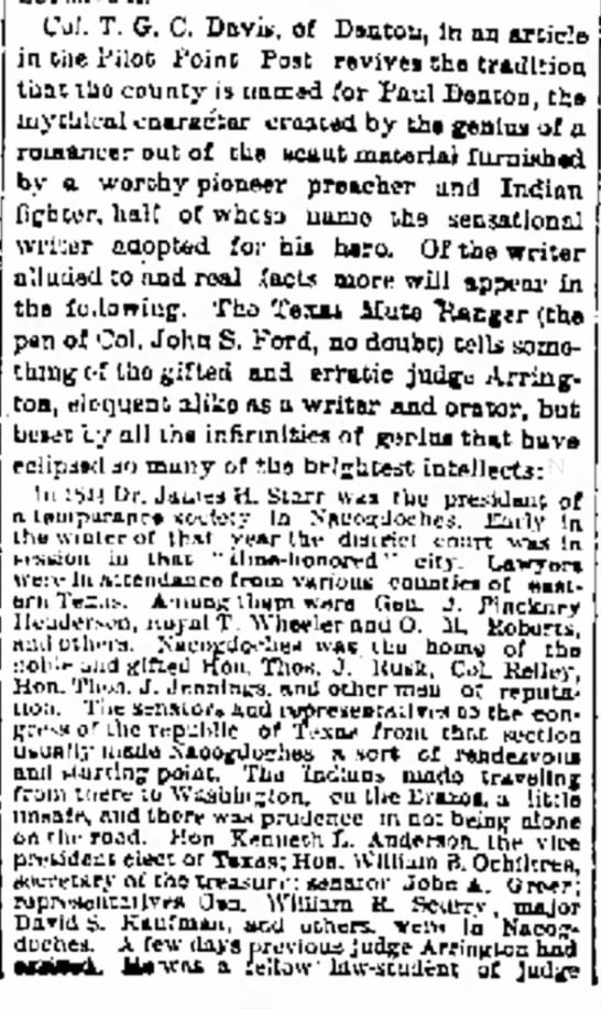 Galveston Daily News , May 20, 1880Arrington and Paul Denton
