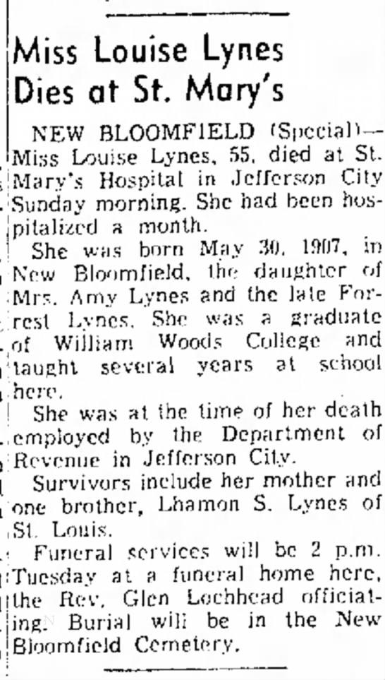 Miss Louise Lynes newspaper obituary