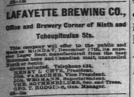 Lafayette Brewery Ad  tp 12-8-1888 pg 5