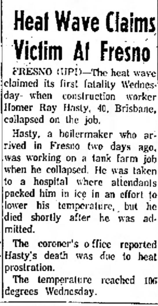 Homer Hasty death notice