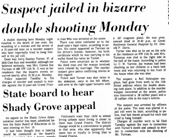 Suspect jailed in bizarre double shooting Monday/ 8 Oct 1969 Grand Prairie Daily News
