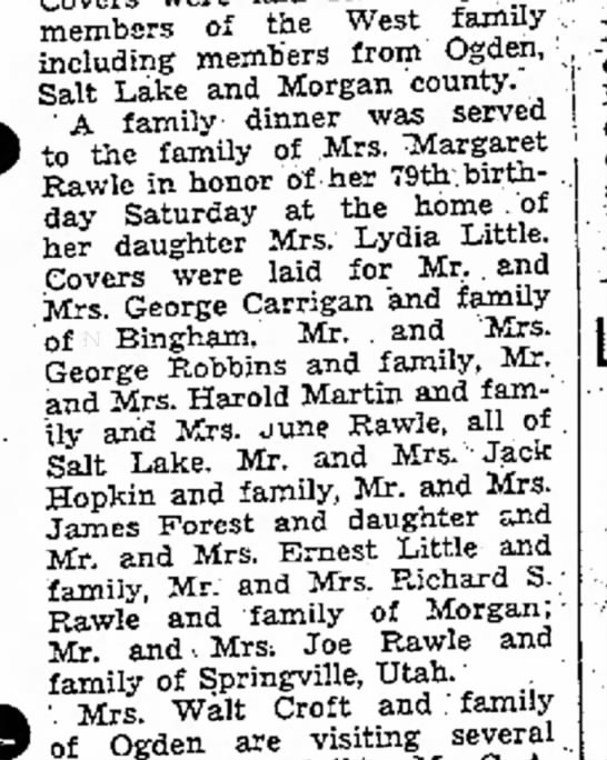 1937 Margaret Simmons Rawle Birthday dinner