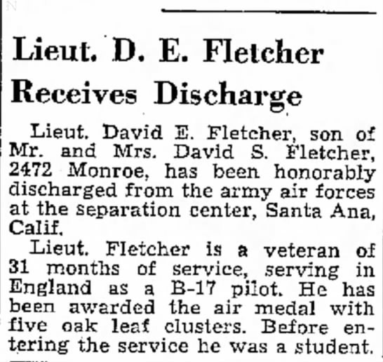 David Eldon Fletcher honorably discharged from the Air Force