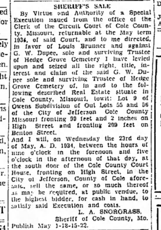 Hedge Grove Cemetery, Sheriff's Sale, The Daily Capital News, 1 May 1934