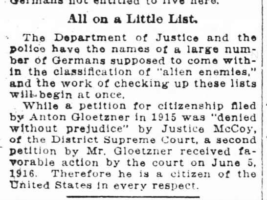 Anton Gloetzner citizenship Washington Post 16 Dec 1917 p.16