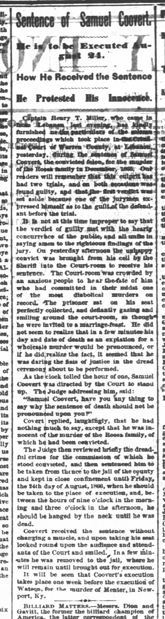 Cincinnati Daily Enquirer27 June 1866Sentencing of Sam 2nd trial