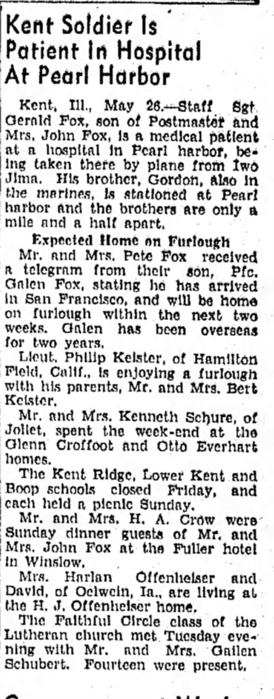 Freeport Journal-Standard, Freeport, IL - 26 May 1945, page 5.