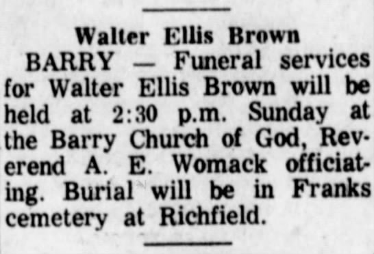 Funeral for Walter Ellis Brown to be held Sunday at Barry Chuch of God.