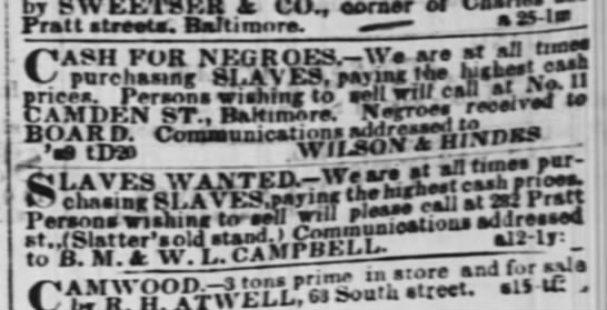 Cash for negroes in Baltimore, Maryland for slaves 1857